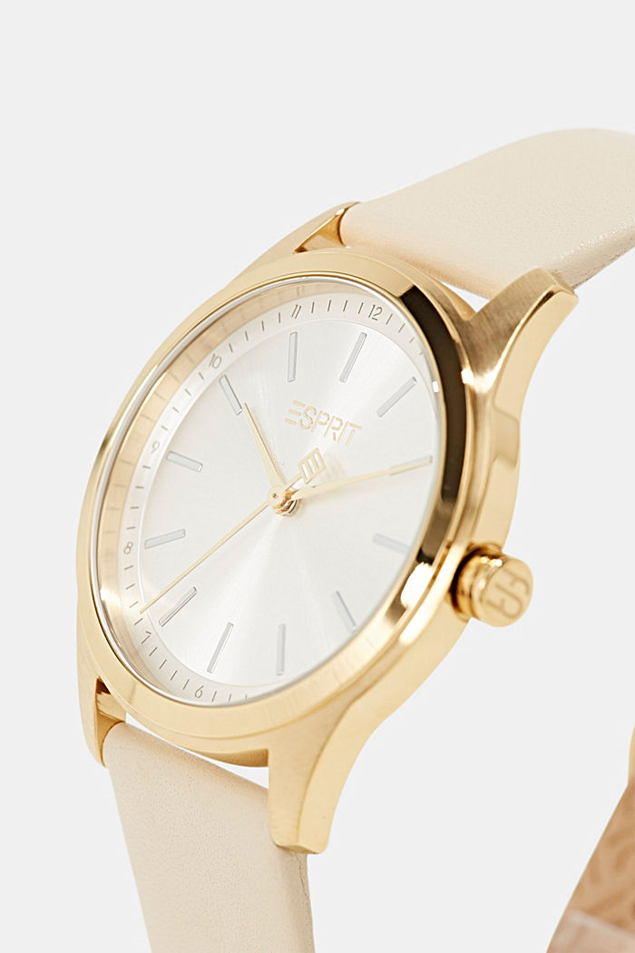 Gold-plated stainless steel watch with leather strap, BEIGE, detail image number 1