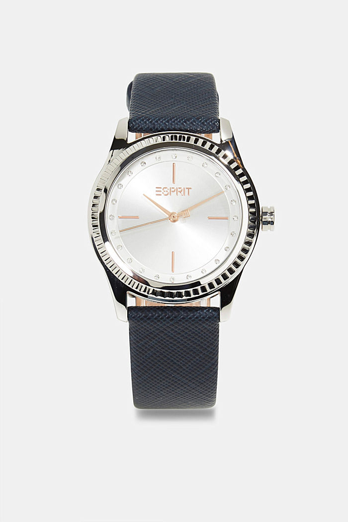 Stainless steel watch with leather strap and zirconia