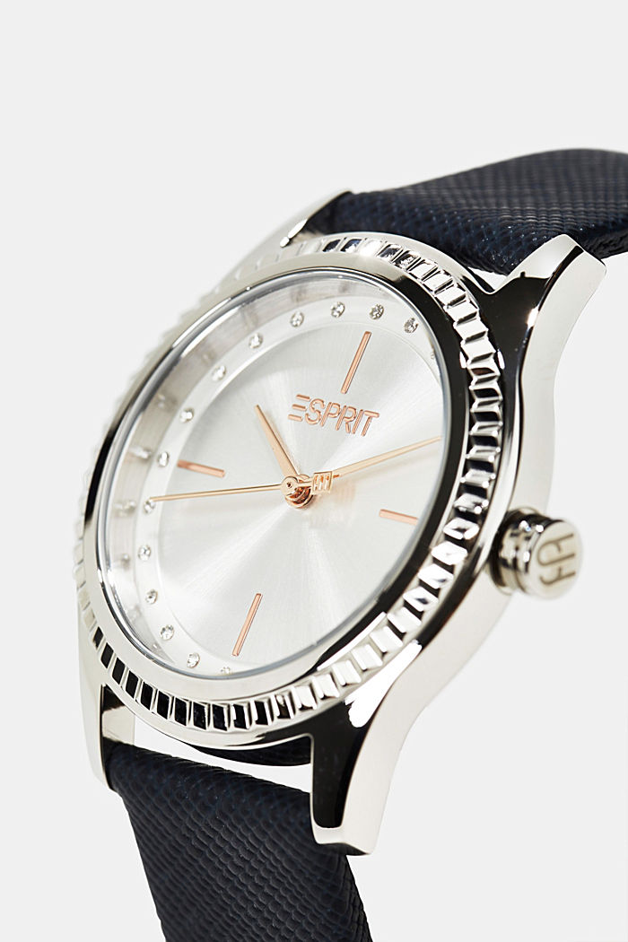 Stainless steel watch with leather strap and zirconia, BLUE, detail image number 1