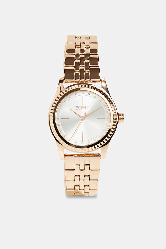 Stainless-steel watch with rose gold plating