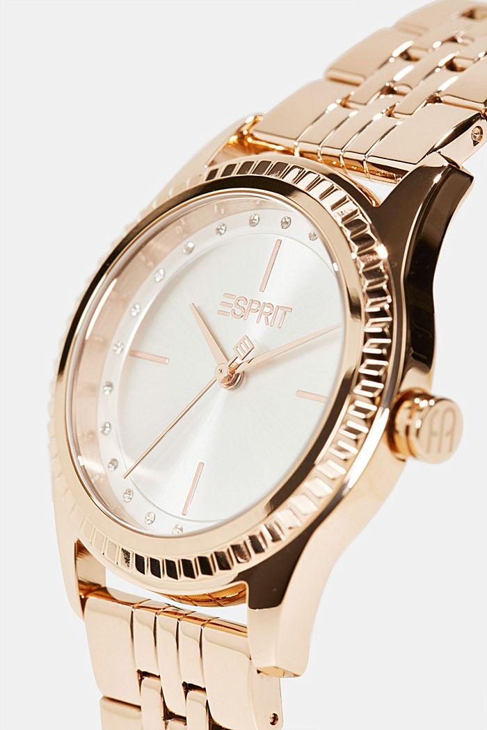 Edelstahl-Uhr mit Roségold-Plattierung, ROSEGOLD, detail image number 1