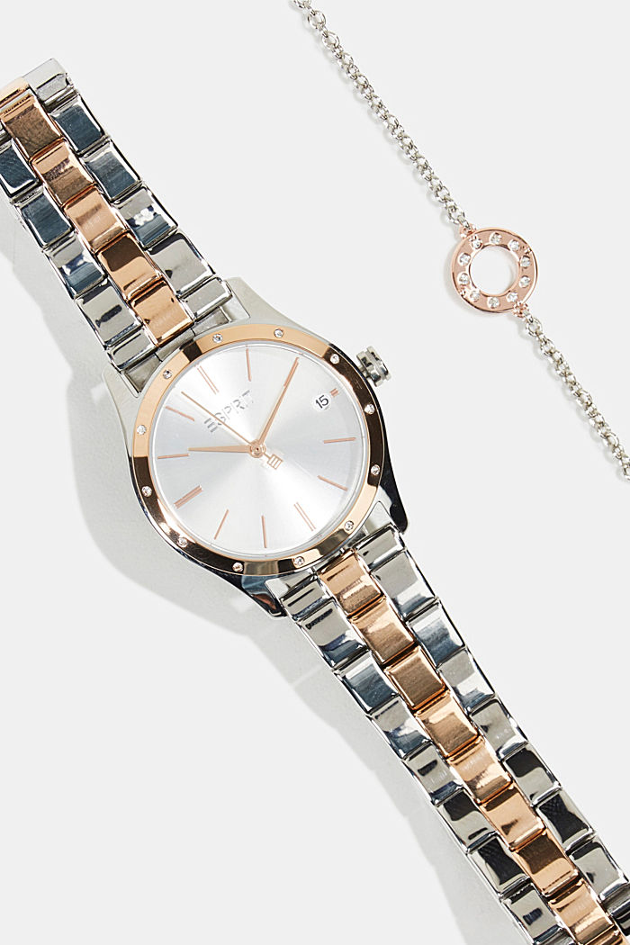 Set de reloj y pulsera con detalle de circonita, ROSEGOLD, detail image number 1