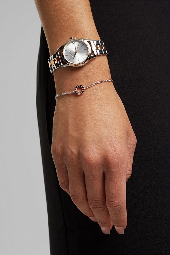 Set aus Uhr und Armband mit Zirkonia-Besatz