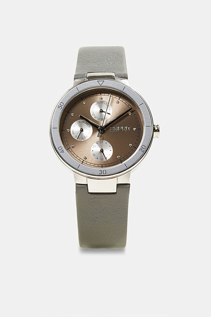 Stainless steel multifunctional watch with leather strap