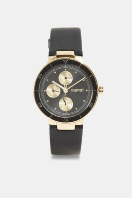 Multi-functional watch with a leather strap, BLACK, detail