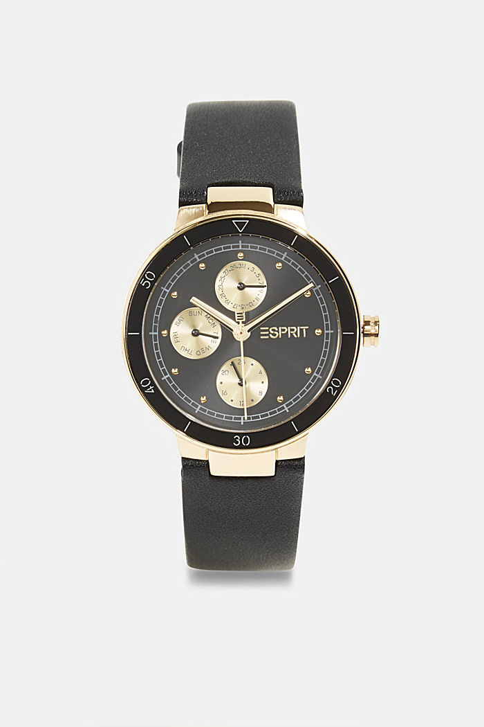 Multi-functional watch with a leather strap, BLACK, detail image number 0