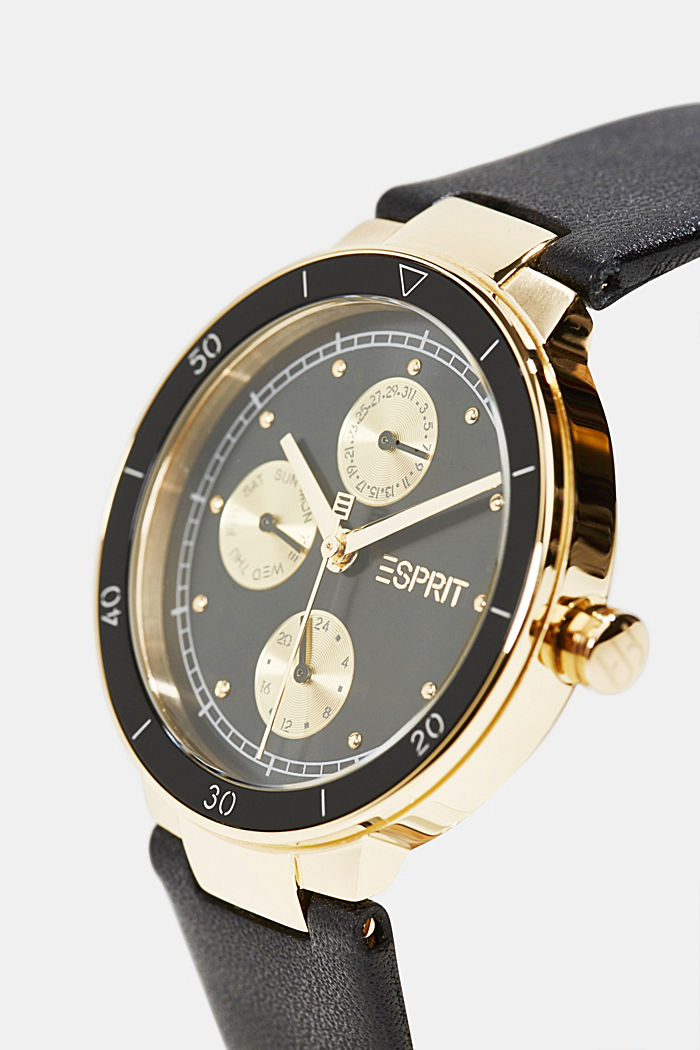 Multi-functional watch with a leather strap, BLACK, detail image number 1