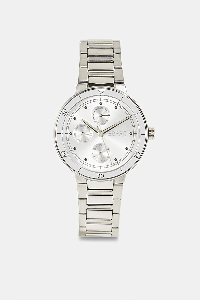 Multi-functional watch made of stainless steel, SILVER, overview