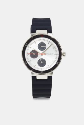Multi-functional watch with a rubber strap, BLUE, detail