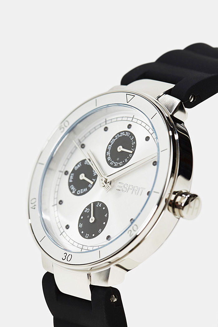 Multi-functional watch with a rubber strap, BLACK, detail image number 1