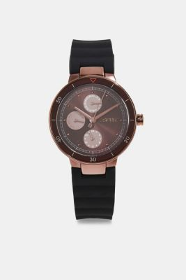 Multi-functional watch with a rubber strap, BLACK, detail