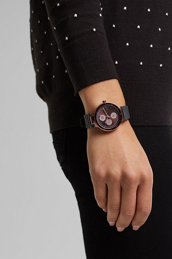 Multi-functional watch with a rubber strap