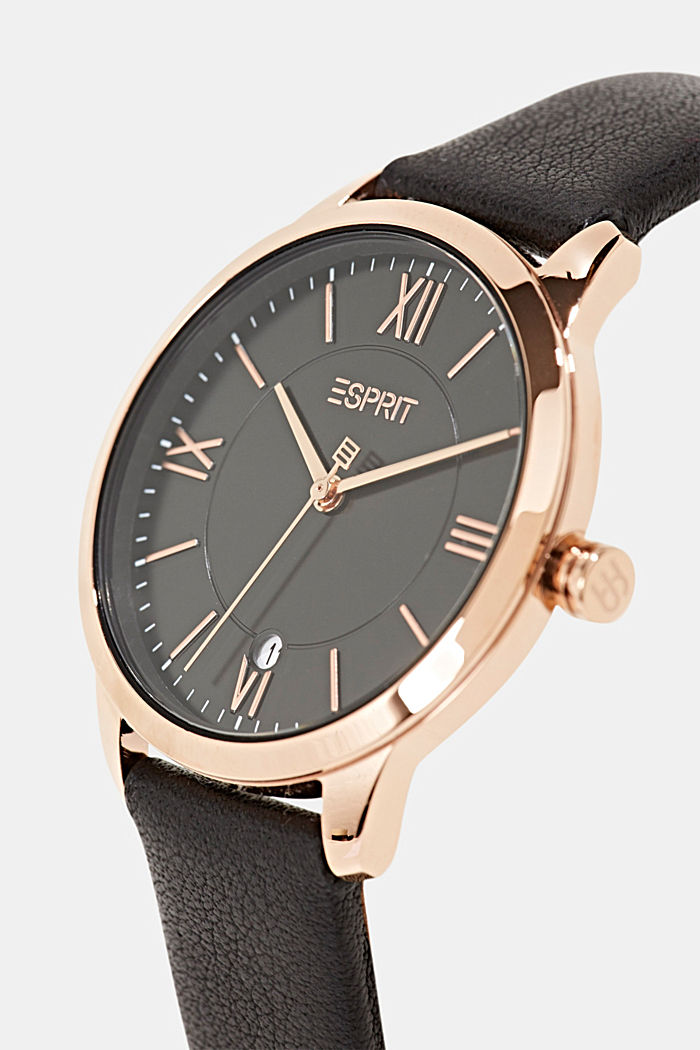 Stainless steel watch with rose gold and a leather strap, BLACK, detail image number 1