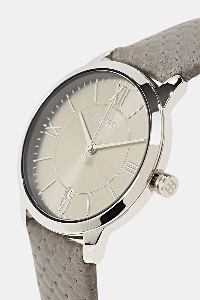 Orologio in acciaio inossidabile con cinturino in pelle strutturato, GREY, detail image number 1
