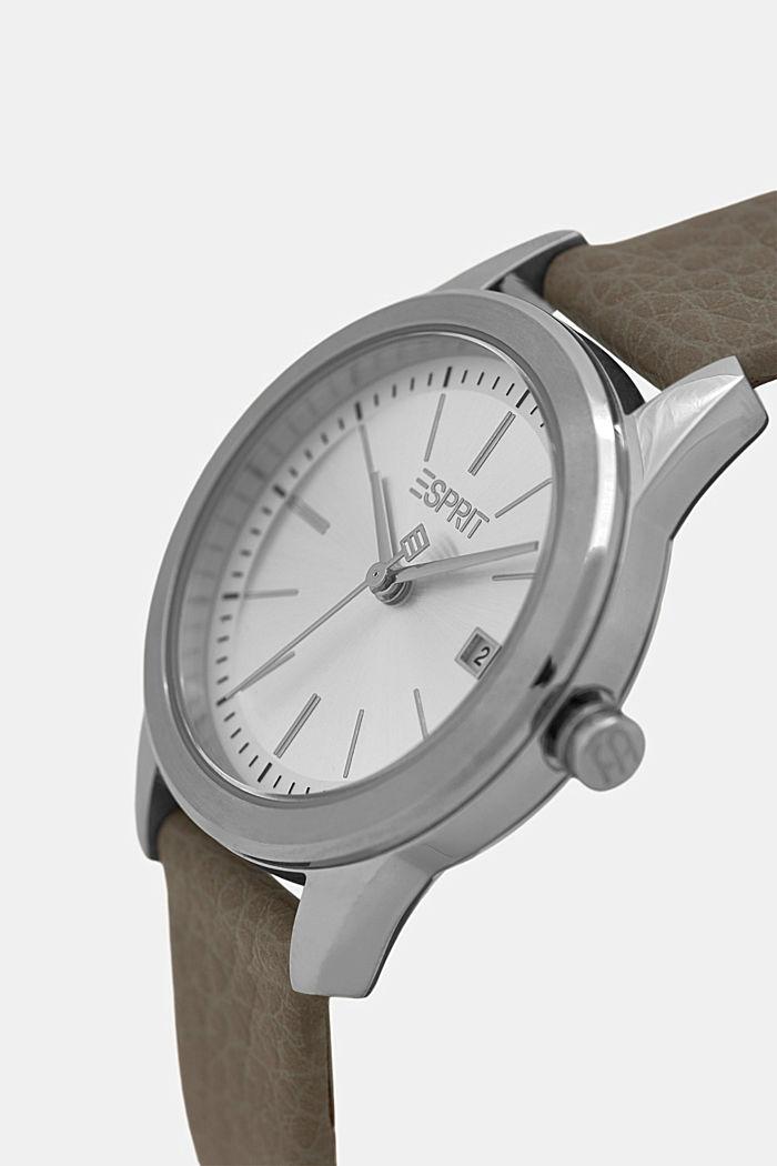 Reloj de acero inoxidable con pulsera de piel, GREY, detail image number 1