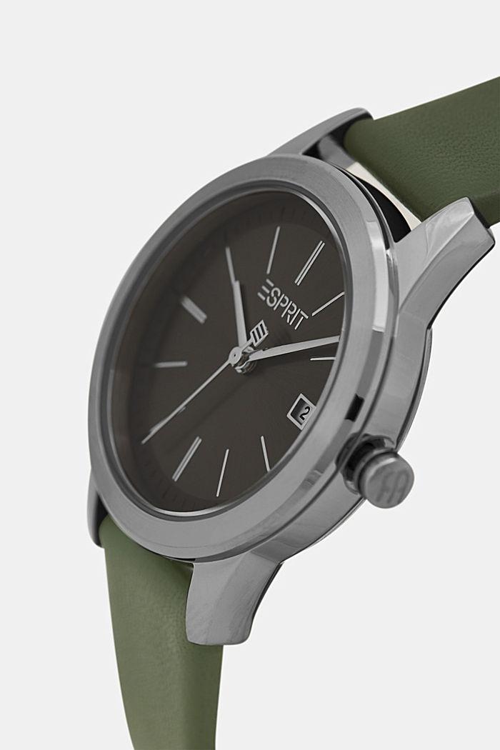 Edelstahl-Uhr mit Lederarmband, GREEN, detail image number 1