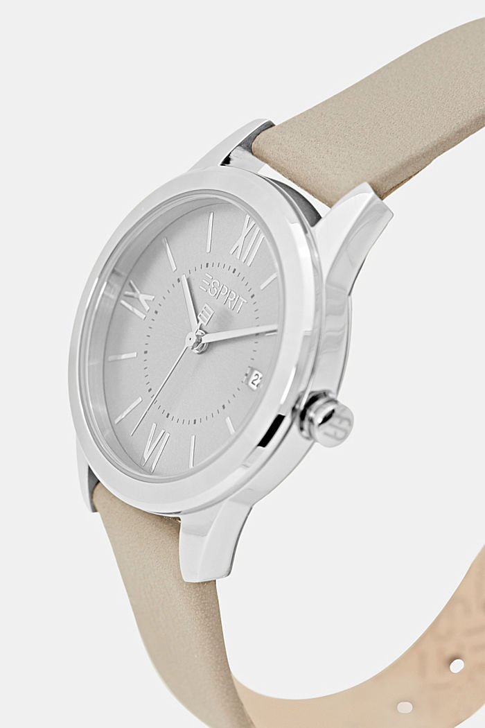 Stainless-steel watch with a leather strap, GREY, detail image number 1