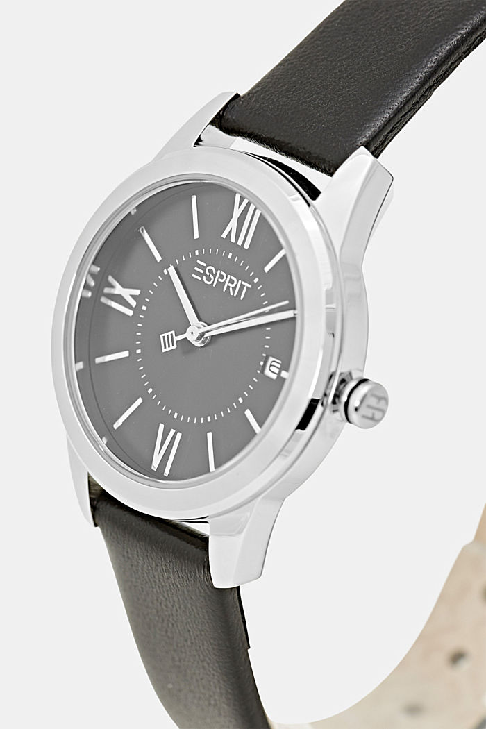 Watch with Leather, BLACK, detail image number 1