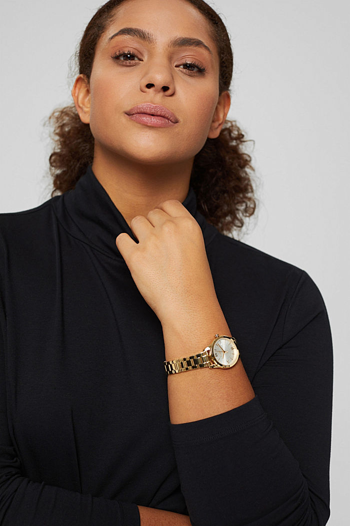 Montre en acier inox couleur or jaune, bracelet à maillons