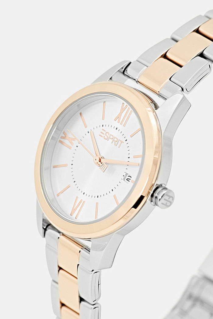 Two-tone stainless steel watch with a link bracelet, ROSEGOLD, detail image number 1