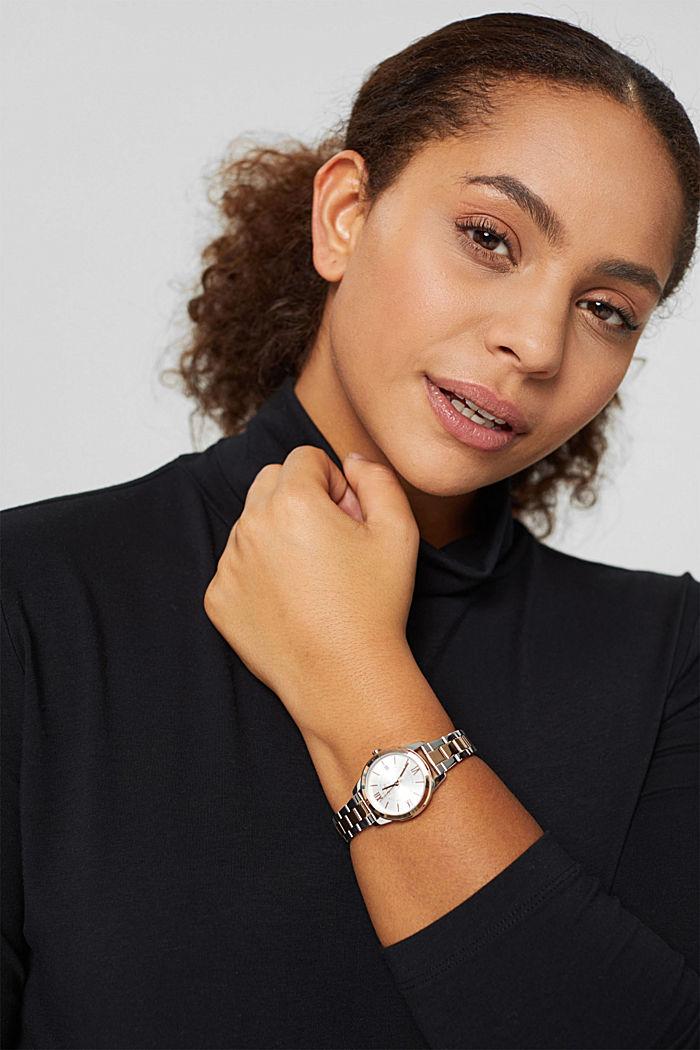 Montre en acier inox bicolore, bracelet à maillons