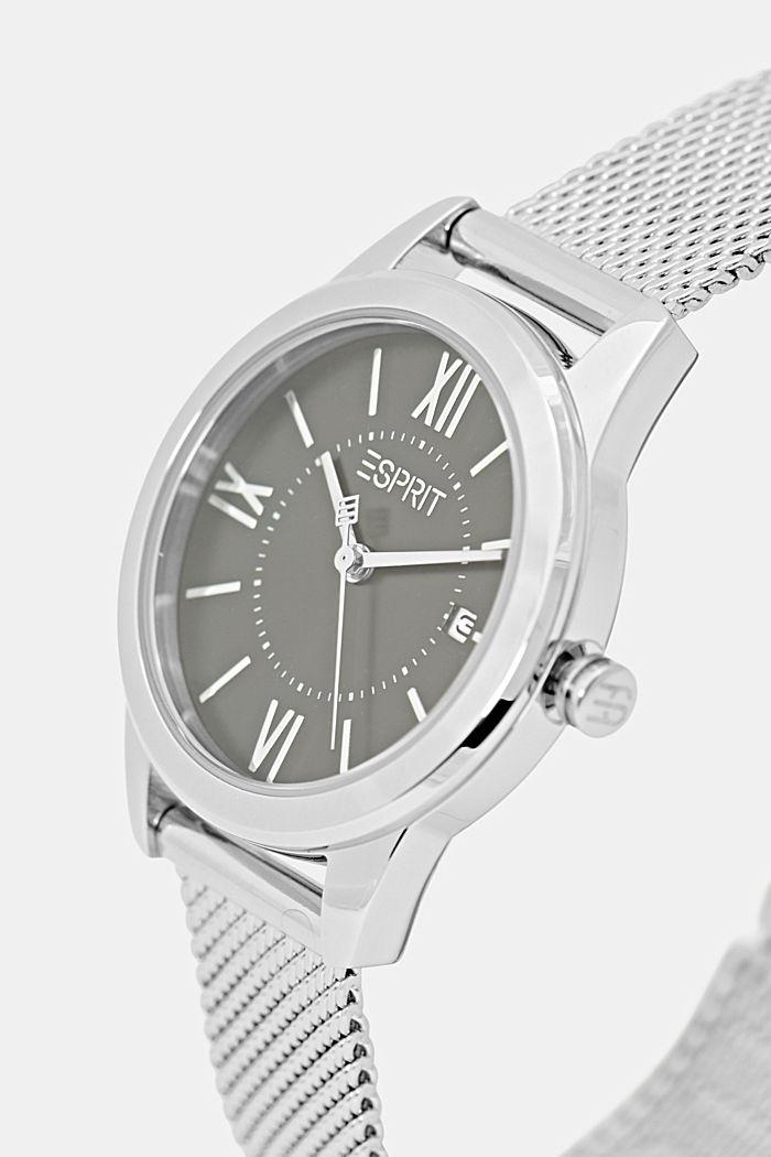 Edelstahl-Uhr mit Mesh-Armband, SILVER, detail image number 1