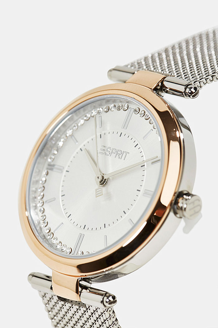 Edelstahl-Uhr mit Zirkonia und Mesh-Armband, SILVER, detail image number 1