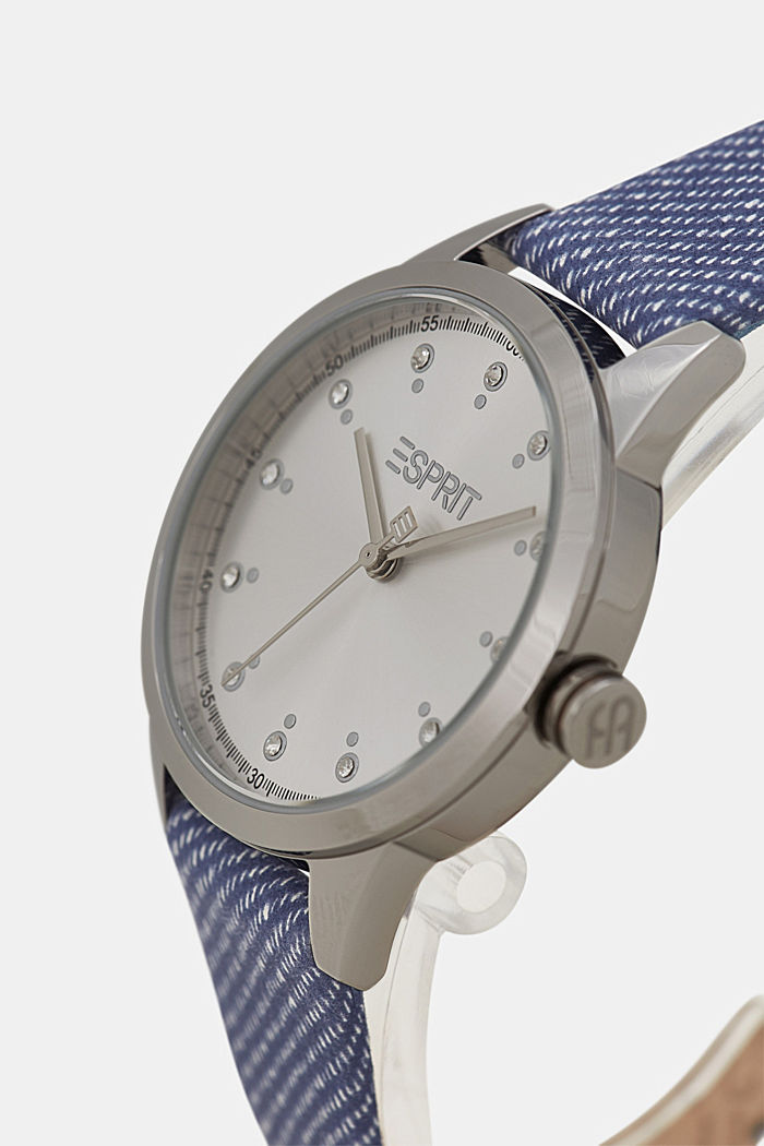Edelstalen horloge met leren bandje, BLUE, detail image number 1