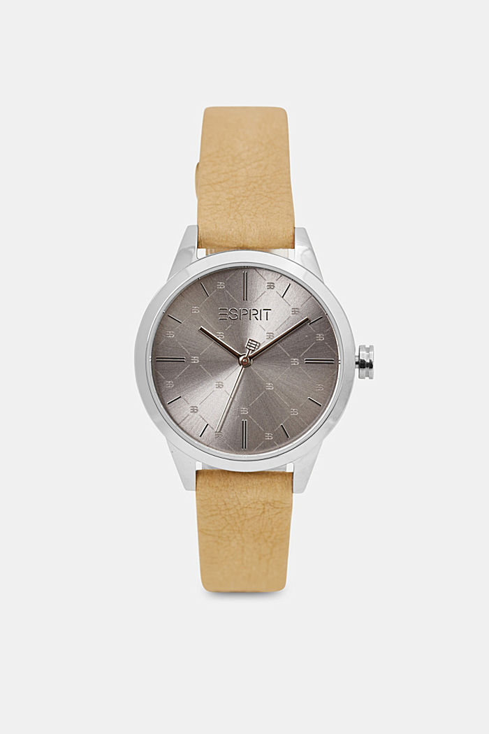 Vegan: stainless-steel watch with a patterned bezel, BROWN, overview
