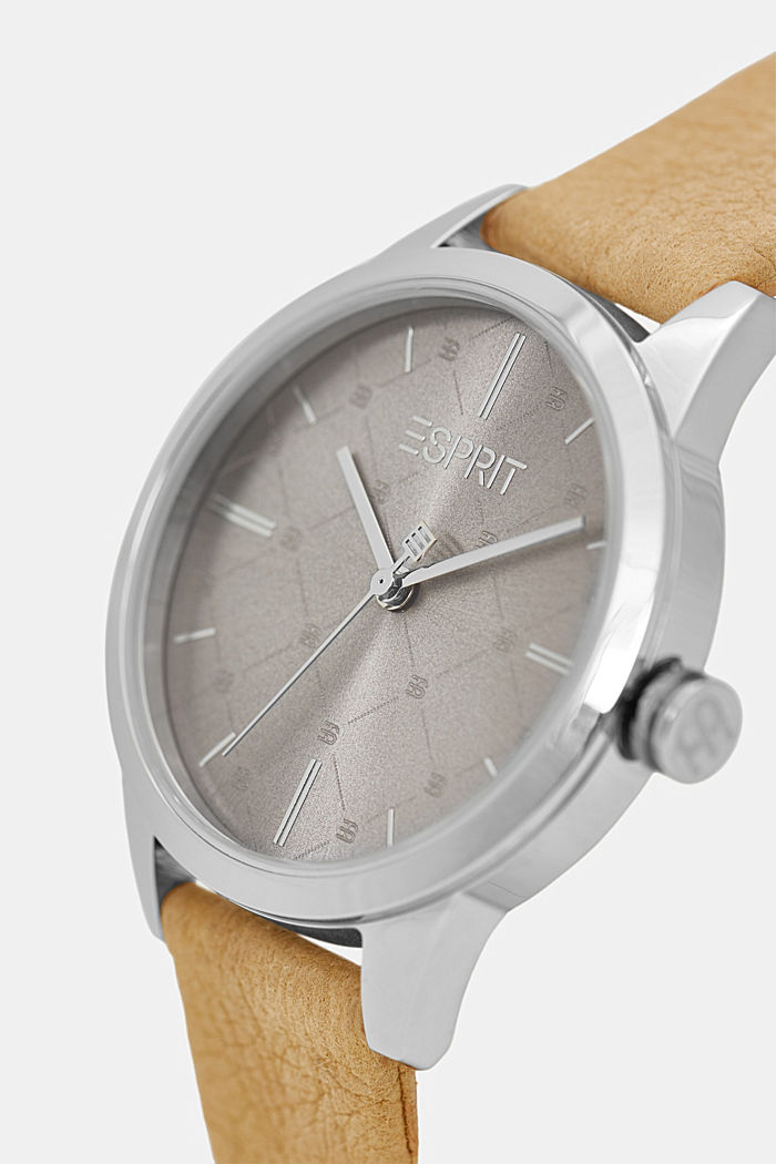 Vegan: stainless-steel watch with a patterned bezel, BROWN, detail image number 1