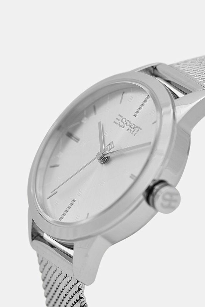Edelstahl-Uhr mit gemusterter Lünette, SILVER, detail image number 1