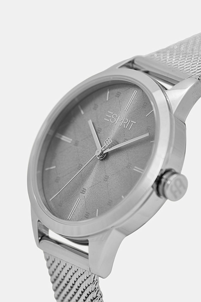 Stainless steel watch with a patterned bezel, SILVER, detail image number 1