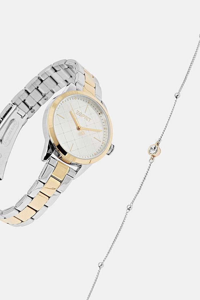 Parure montre et bracelet au look bicolore, GOLD, detail image number 4