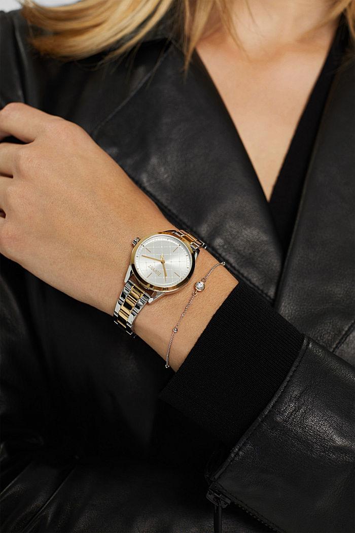 Parure montre et bracelet au look bicolore, GOLD, detail image number 2