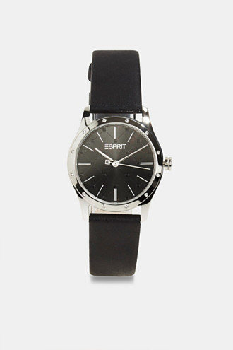 Stainless steel watch with zirconia and leather strap