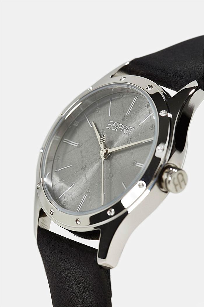 Edelstahl-Uhr mit Zirkonia und Leder-Armband, BLACK, detail image number 1