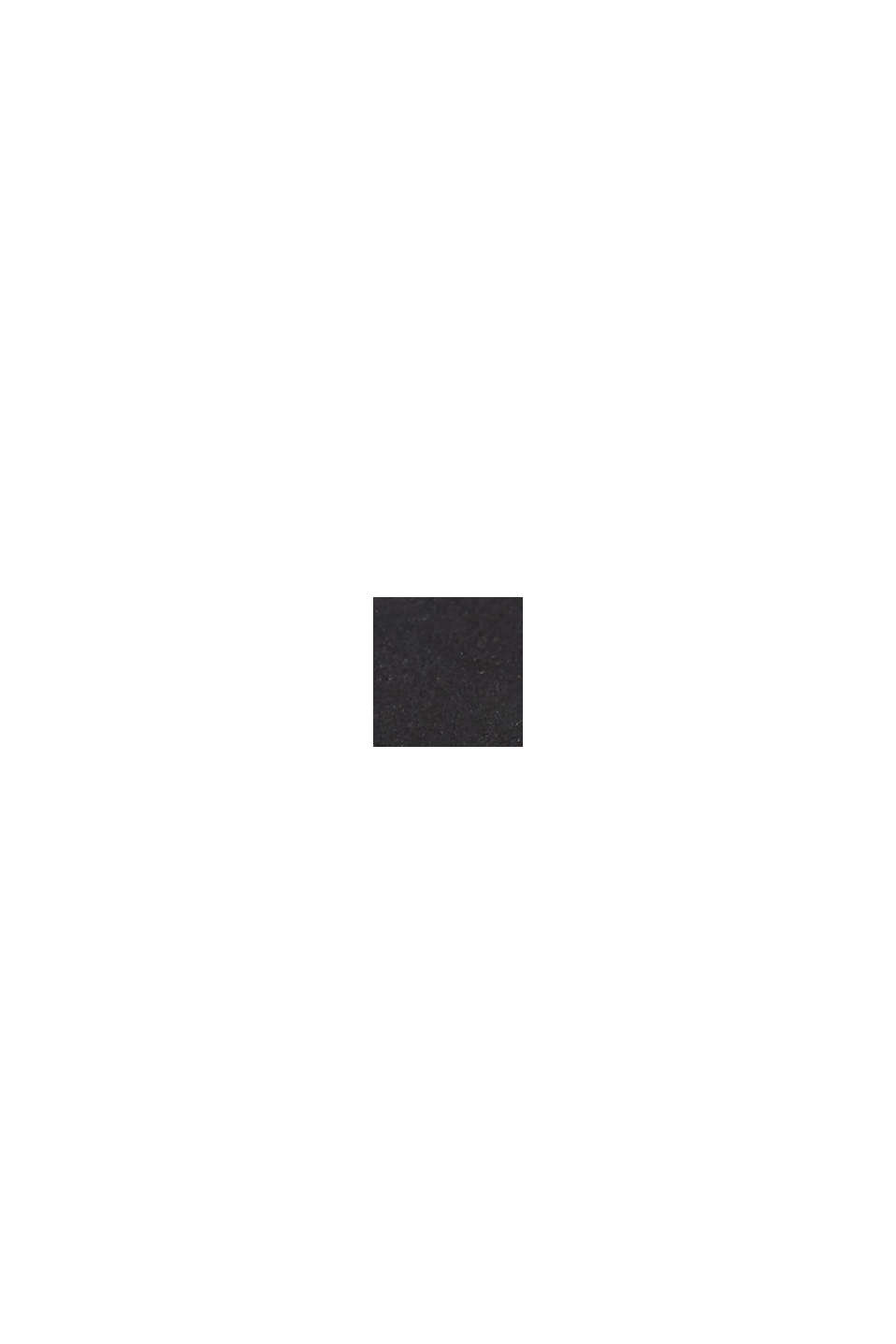 Montre en acier inoxydable, pierres de zircon et bracelet en cuir, BLACK, swatch