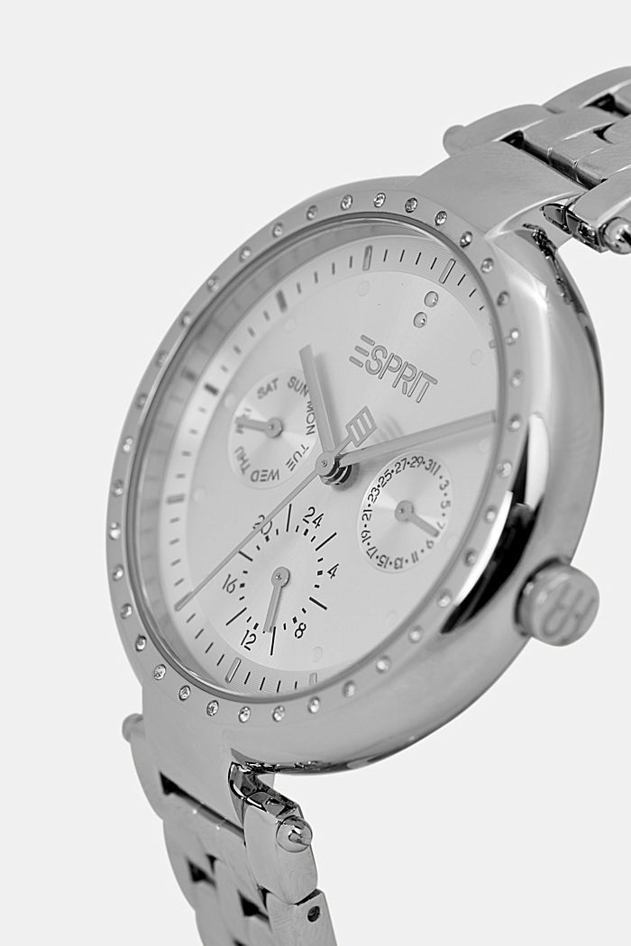 Multi-functional watch made of stainless steel, SILVER, detail image number 1