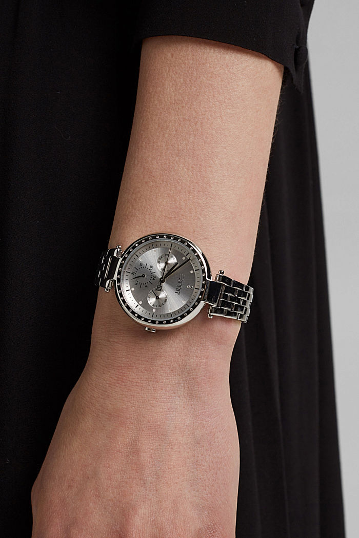 Multi-functional watch made of stainless steel, SILVER, detail image number 2