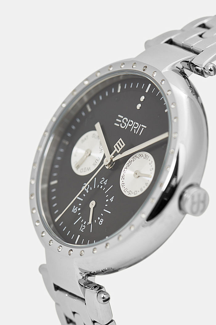 Multifunctional watch with zirconia trim, SILVER, detail image number 1