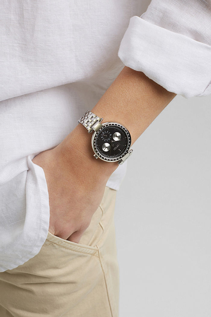 Multifunctional watch with zirconia trim, SILVER, detail image number 2