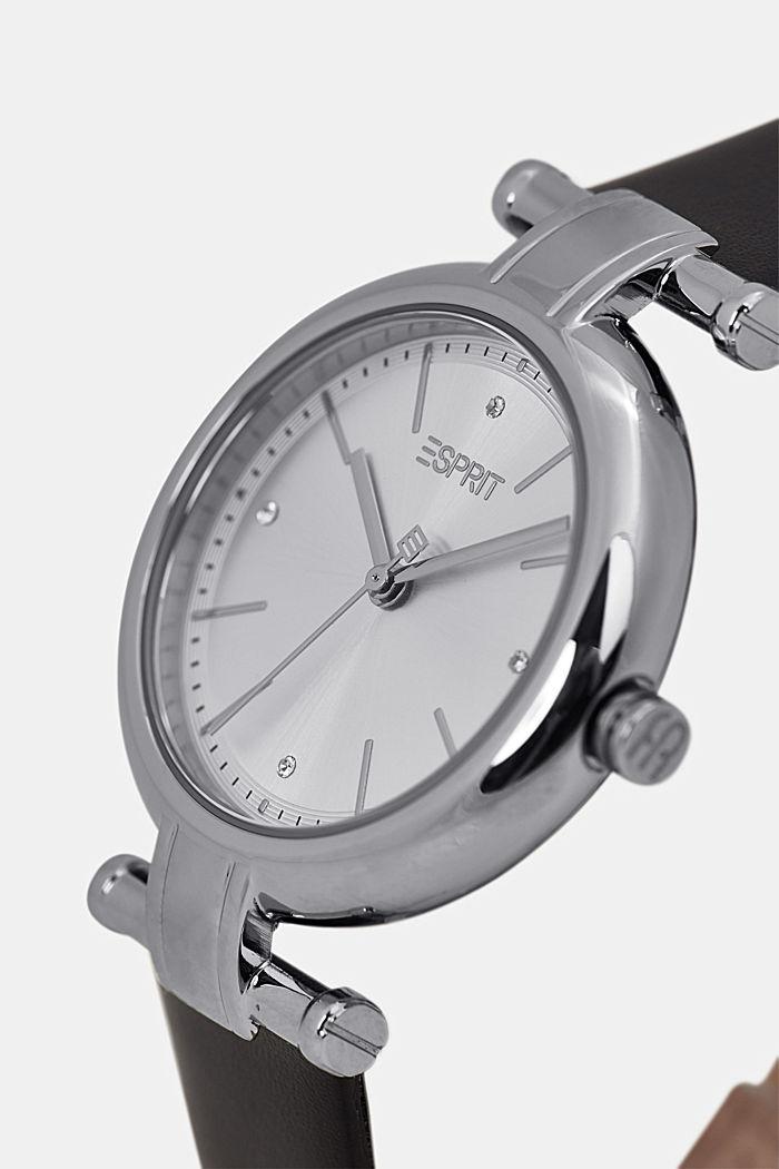 Edelstalen horloge met leren bandje, BLACK, detail image number 1