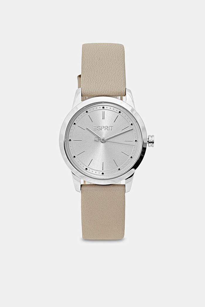 Edelstalen horloge met leren bandje