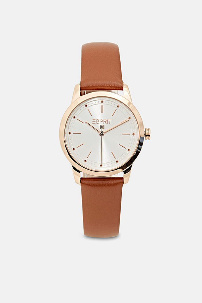 Plated stainless steel watch with a leather strap, BROWN, detail image number 0