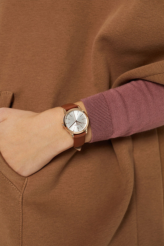 Plated stainless steel watch with a leather strap, BROWN, detail image number 2