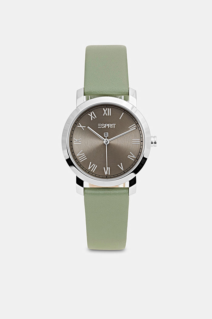 Stainless-steel watch with a leather strap, GREEN, overview