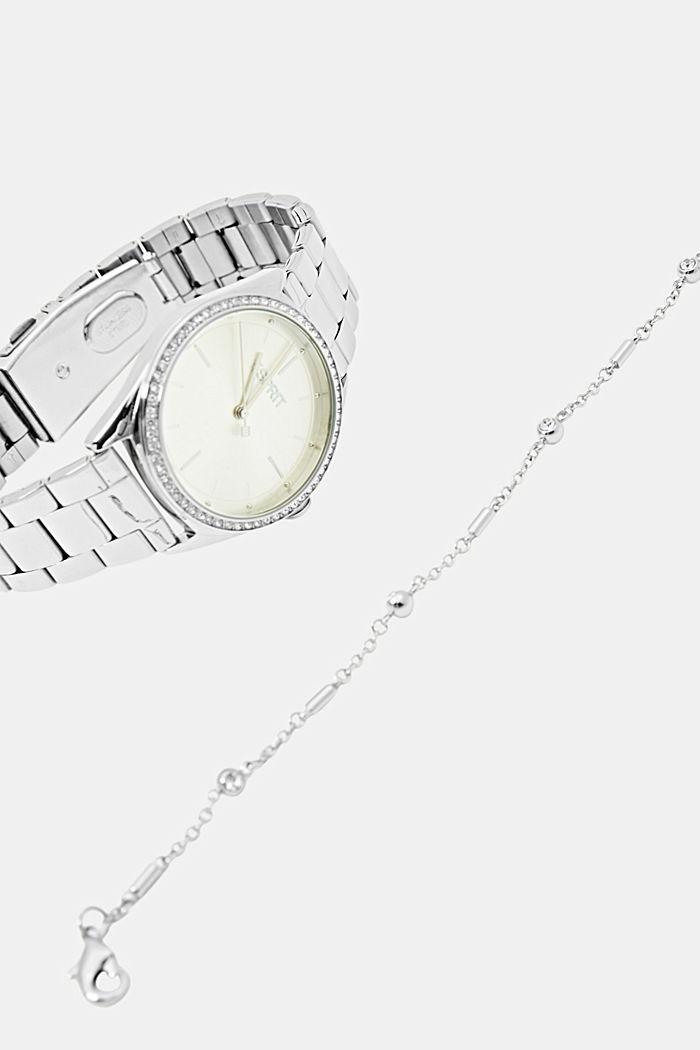 Set de pulsera y reloj de acero inoxidable, SILVER, detail image number 4