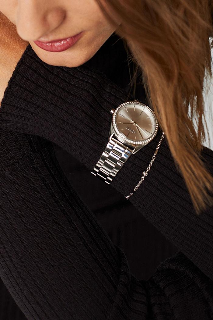 Set med klocka i rostfritt stål och armband