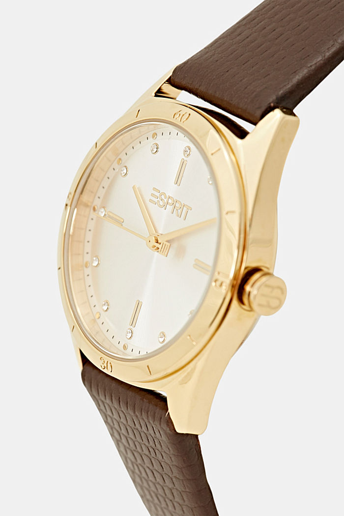 Edelstalen horloge in geelgoudkleur met leren bandje, BROWN, detail image number 1