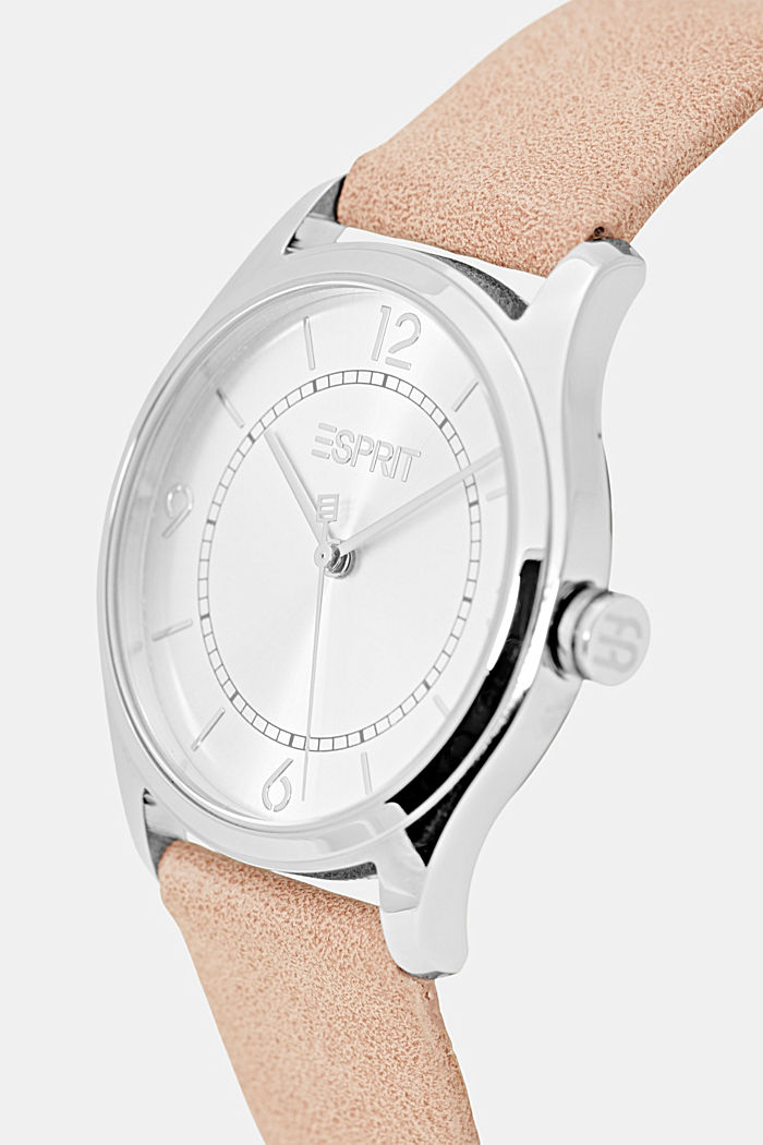 Vegan: stainless steel watch with a faux leather strap, PINK, detail image number 1
